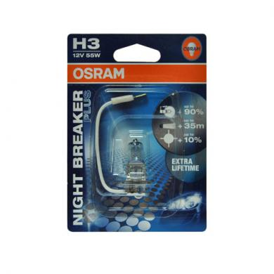 Osram Original H3- 55 PK22s+90% NIGHT BREAKER PLUS (блистер) O-64151NBRбл